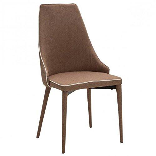 Legno&Design Chaise design moderne rembourrée en tissu bordure blanche couleur marron.