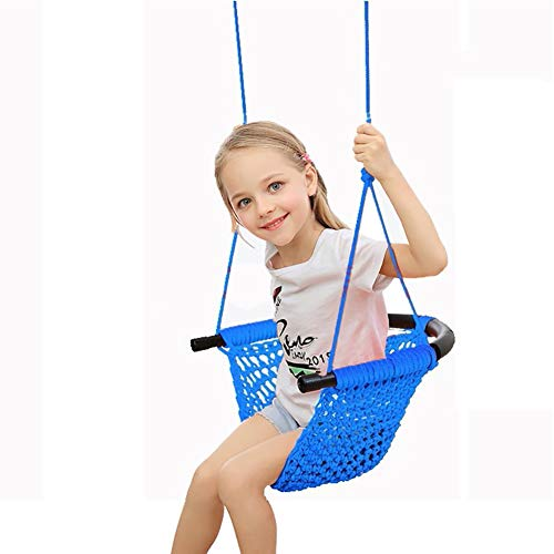 XIAOFEI Children'S Swing Rope Net Hammock Swing Baby Family Hanging Chair Outdoor Garden Handmade Weaving Swing Chair Kids Indoor Toy,Blue
