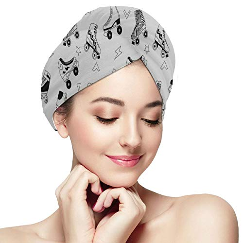 Colorful Retro Roller Skates Hair Dry Towel Kids Long Hair Towel Wrap Soft Absorbent Quickly Dry Hair Turban Hair Towel Quick Drying Towels For Hair Drying Best Hair Towel Wrap