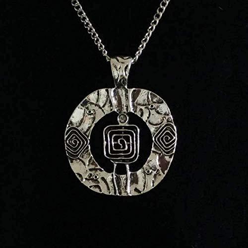 ZGYFJCH Co.,ltd Collar Collar de Mujer 1 x Metal Plateado Tibetano Gran círculo Redondo Collares llamativos Abstractos con Lagenlook Cadena de acera Larga Collares con Colgante en Espiral 34