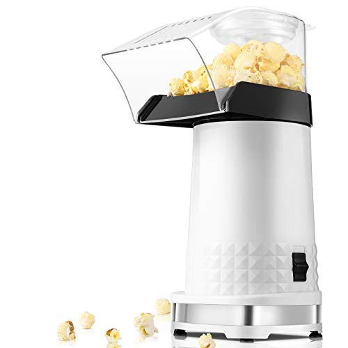 Hot Air Popper Popcorn Maker,1200W Electric Popcorn Maker,BPA-Free, 3 Minutes Fast Popcorn Popper with Measuring Cup and Top Lid for Home, Family, Party-2021 New Version(White)