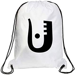 IMPRESS Drawstring Sports Backpack White with Joker Letter U
