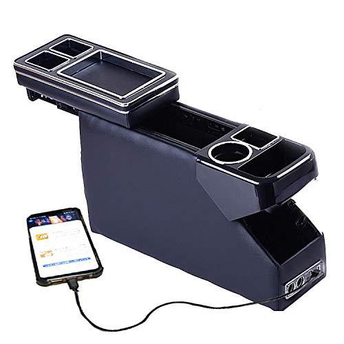 来慶[ライケイ] ホンダ フリード 専用 コンソールボックス スパイク兼用 DBA-GB3 DBA-GB4 USB×2 DCシガーソケット×2付 大容量 スライドドア 収納 LEDライトLEDライト付 肘掛