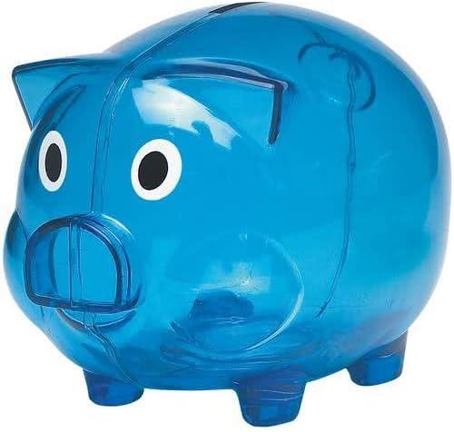 eBuyGB Transparent Plastic Piggy Bank/Money Box, Blue