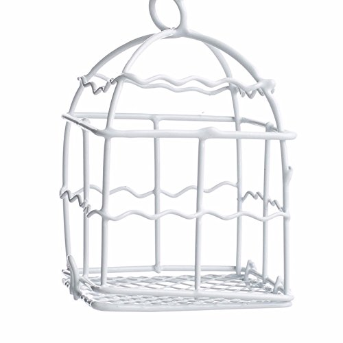 Factory Direct Craft Group of 8 Miniature White Enamel Covered Wire Birdcages for Wedding Favors, Crafting and Creating