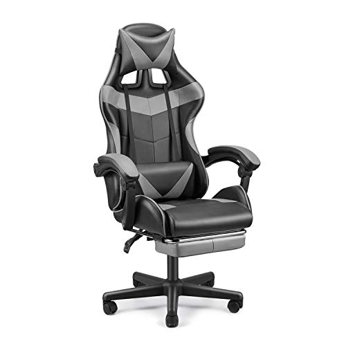 FERGHANA PC Gaming Chair,Racing Chair for Gaming,Computer Chair,E-Sports Chair,Ergonomic Office Chair with Retractable Footrest and Adjustable Headrest and Lumbar Support(Grey)