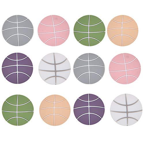 12 Stück Türpuffer Türstopper Wand, Schützt Fenstergriffe, Basketball Form Selbstklebende Türpuffer für Schlafzimmer, Küche, Büro, 50 mm Durchmesser (6 Farben)