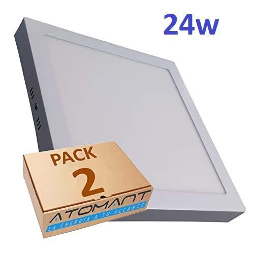 Pack 2x Plafon LED cuadrado superficie 24w, color blanco frio (6500K). 2000 lumenes Reales! (300mm x 300mm).