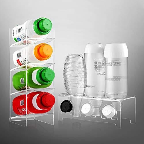 ecooe Égouttoir et organiseur pour 3 bouteilles SodaStream et Emil - En verre acrylique - Passe au lave-vaisselle