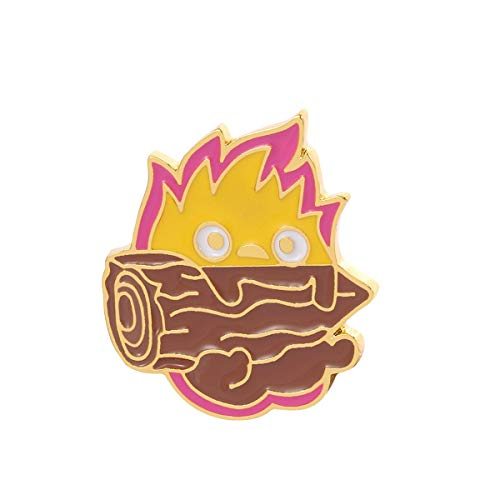 LYXPUZI Badge Pin 2pcs Calcifer Pin Cartoon Fire Elf Game Anime Brooch Pin Badge