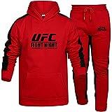 Sudadera con Capucha Impresa Sudadera Y Pantalones Rojos De Verano, Traje De Ropa Deportiva Impresa UFC, Regalo para Fans De MMA, 2 Estilos (Color : Red-2, Size : XXX-Large)