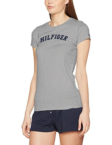 Tommy Hilfiger SS tee Print Camiseta, Gris (Grey Heather 004), M para Mujer