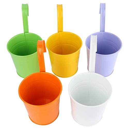 DOITOOL - 10 vasi da fiori a forma di secchio, da appendere, in ferro, fioriere per balconi, giardino e cortile, vaso da parete o recinzione, con gancio staccabile, colore casuale