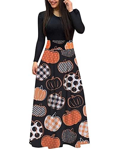 Women Halloween Casual Long Sleeve A-line Dress Pumpink Print Stitching Round Neck Large Swing Long Dress (A-Black, Medium)