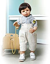 28inch 70cm Full Hard Vinyl Body Standing Reborn Toddler Doll Lifelike Masterpiece Doll Model Collectible Doll Age 1 Children Clothes Artist Design (Cool Boy)