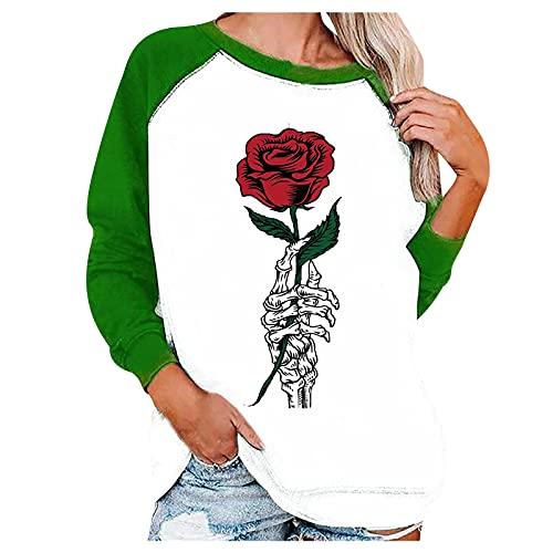 Jersey suelto para mujer de otoño, Halloween, a mano, rosa, cuello estampado, manga larga, jersey de Halloween, verde, XL