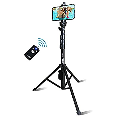 """Selfie Stick & Tripod Fugetek, Integrated, Portable All-in-One Professional, Heavy Duty Aluminum, Bluetooth Remote Compatible with Apple & Android Devices, Non Skid Tripod Feet, Extends to 51"""", Black from Fugetek"""