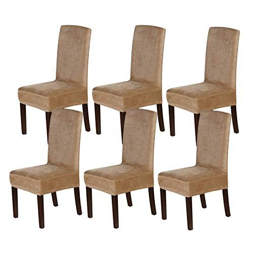 XDKS - Coprisedie in velluto per sedia da pranzo, coprisedia Parsons, moderno elasticizzato e lavabile, 6 pezzi, colore: cammello