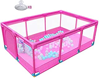H aetn Playpens Pink Folded Large Baby  Child Toddlers Boys Girls Panel Oxford Cloth  Indoor Outdoor Activity Area Fence