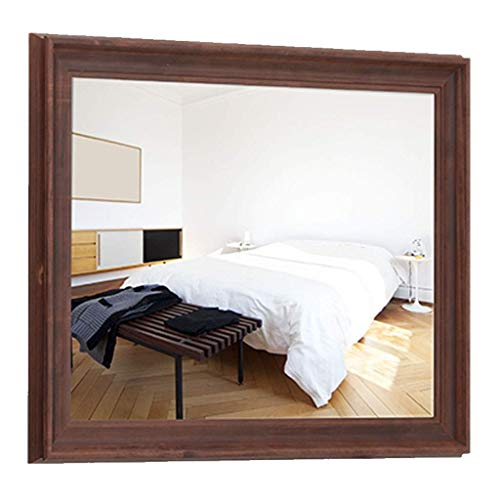 Household Necessities/puur massief hout badkamerspiegel retro rozenhout kleur wandspiegel spiegel spiegel in Amerikaanse stijl badkamerspiegel wandspiegel badkamer huisgeschenk 60X80CM Bruin