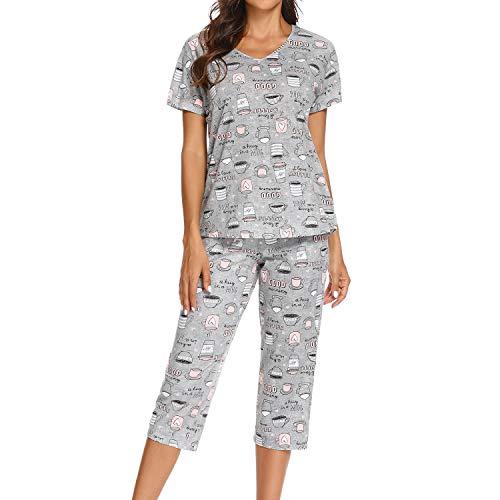 Lu's Chic Women's Cute Pajama Sets Cotton Pjs Capri Short Sleeve Pant Soft Print Two Piece Sleepwear Light Grey US 16-18 (Tag XL)