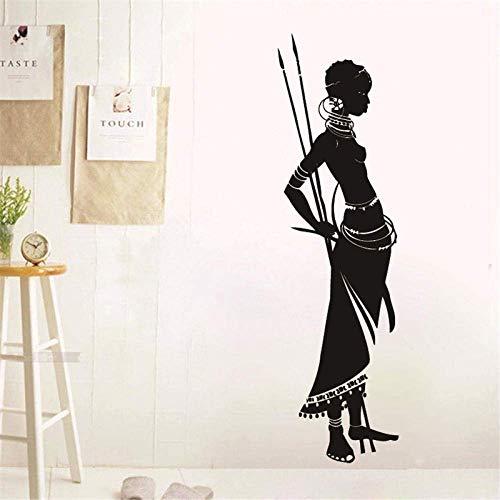 Schönheitssalon Afrikanische Mädchen Wandtattoo Afrika Safari Frau Speer Natur Vinyl Aufkleber Wandkunst Wand Retro Wohnkultur 120X35 Cm