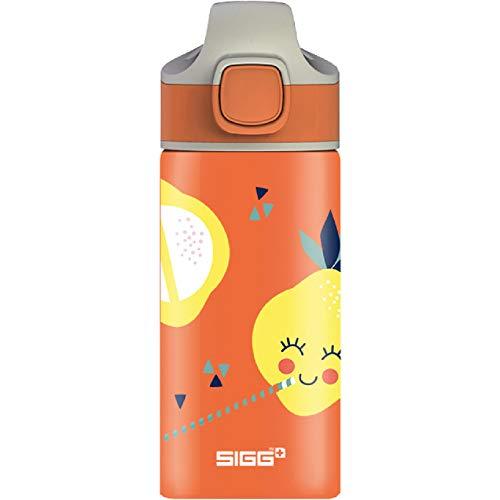 SIGG Lemon Borraccia alluminio per bambini (0.4 L), Borraccia bambini con tappo ermetico, Borraccia acqua in alluminio con motivo e cannuccia incorporata