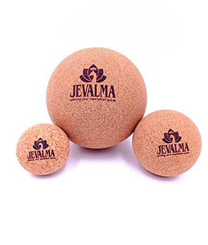 Jevalma Kork-Massagebälle 3er-Set für sofortige Muskellösung. Massage-Kit für tiefe Gewebe Trigger-Punkte und myofasziale Entspannung, Muskelschmerzen und Yoga-Therapie