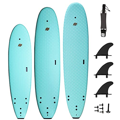 South Bay Board Co. - 7' / 8' / 8'8 Premium Foam Surfboards - Wax-Free Soft-Top Surfboards - Beginner Surfboards for Kids & Adults – Fins & Leash Included - Patented Heat Damage Prevention System