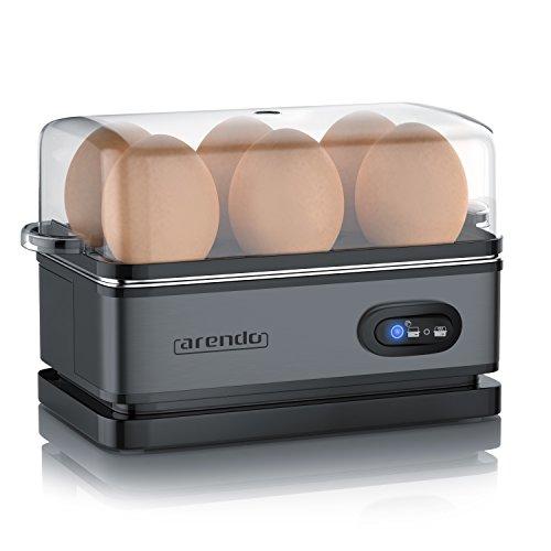 Arendo - Eierkocher Edelstahl mit Warmhaltefunktion - Kipp-Funktionsschalter mit Indikationsleuchte - frei wählbarer Härtegrad - rostfreier gebürsteter Edelstahl - BPA-frei - in Cool Grey