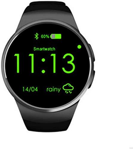 JSL Reloj inteligente Bluetooth con tarjeta Bluetooth de llamada de frecuencia cardíaca de 1,3 pulgadas de disco HD de pantalla para mujeres hombres y niños ancianos, color plateado y negro