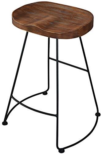 スツール ハイスツール イス 椅子 チェア バーチェア 木製座面 アイアンフレーム ヴィンテージ ユーズド インダストリアル おしゃれ シンプル 北欧 レトロ アンティーク 一人暮らし (ブラウン)