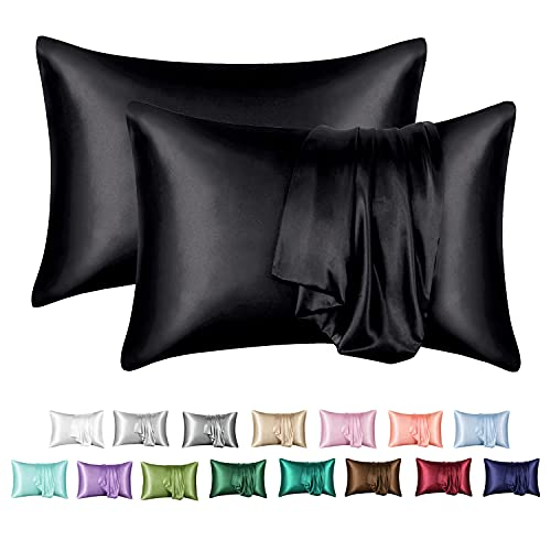 MR&HM Satin Pillowcase Set of 2, Queen Size Silky Pillow Cases for Hair and Skin No Zipper, 2 - Pack Pillow Cover with Envelope Closure (20x30, Black)