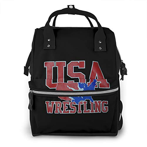 USA Wrestling Baby Diaper Bag Backpack,Multi-Function Waterproof Large Capacity Travel Nappy Bags For Mom