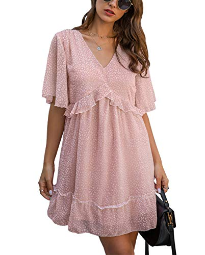 KIRUNDO 2021 Women's Summer Short Sleeve Ruffle Floral Dress Sexy V Neck High Waist Layer Short Mini Dress with Belt (Small, A_Pink)