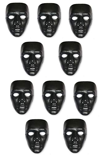 HK Balloons Plain White Plastic Party Mask for Theme Party, Masquerade, Fancy Wear (Pack of 3)