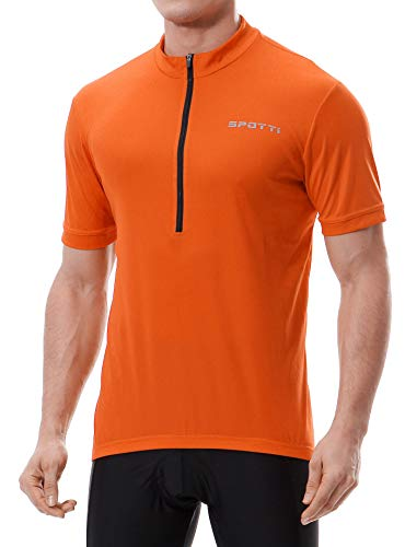 Spotti Basics Men's Short Sleeve Cycling Jersey - Bike Biking Shirt, Hi-viz Orange, Size:XL