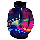 cshsb Sudadera con Capucha con Estampado 3D Unisex DJ Jumper Carnival Costume Hoodie para Hombre Mujer,A,XXS-XS