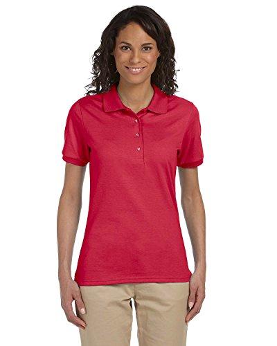 Jerzees womens 5.6 oz. 50/50 Jersey Polo with SpotShield(437W)-TRUE RED-M