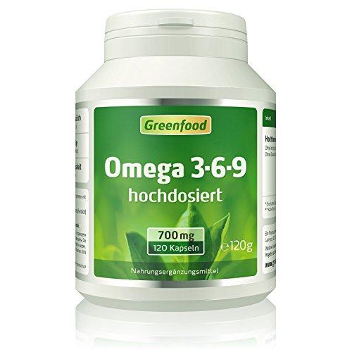 Omega 3-6-9, 700 mg, hochdosiert, 120 Softgel-Kapseln – reich an EPA, DHA. Gut für Herz, Kreislauf und die Cholesterinwerte. Fördert die geistige Leistungsfähigkeit. OHNE künstliche Zusätze. Ohne Gentechnik.