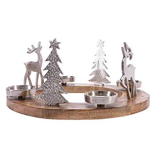Pureday Weihnachtsdeko - Adventskranz Rentiere - Holz Metall - Braun Silber - ca. Ø 40 cm
