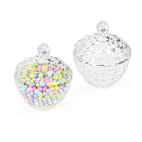 Fasmov 2 Pack Glass Candy Dish with Lid Decorative Candy Bowl, Crystal Glass Storage Jar Box Glass Biscuit Jar