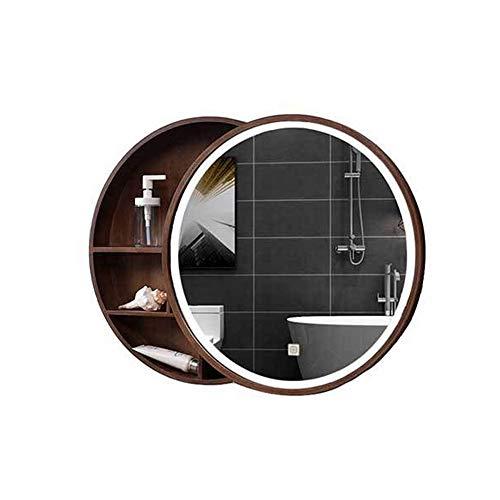 Bathroom mirror cabinet Runden Massivholz Badezimmer Spiegelschrank,Wandmontage Lagerschrank mit 6WLED Beleuchtung,Schiebetür