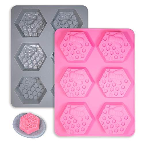 Juego de moldes de fondant de silicona de jabón de panal 3D Bandeja de hielo Molde de chocolate Moldes de pastel de abeja 3D Molde para pastel de colmena Bandeja de hornear Diamante-Rosa y Azul