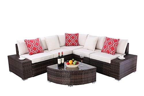 Do4U 6 Pieces Outdoor Patio PE Rattan Furniture Sectional Conversation Set, All-Weather Wicker Rattan Sofa Beige Seat & Back Cushions (Brown)