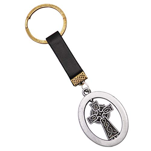 Rosemarie Collections Religious Irish Celtic Castledermot Cross Keychain (Black Burnished Silver)