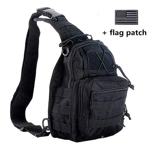 boxuan Outdoor Tactical Shoulder Backpack(+Flag Patch), Military & Sport Bag Pack Daypack for...