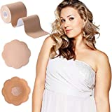 XL Breast Lift Tape for Large Breasts, Breathable Chest Support Tape, Athletic Tape Body Tape with Reusable Nipplecover Adhesive Bra