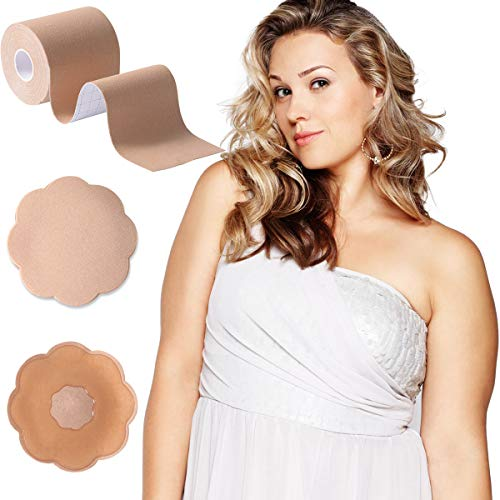 XL Breast Lift Tape,Body Tape for Large Breast with Reusable Nipplecover