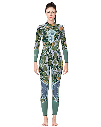 UR MAX BEAUTY Mens and Womens Full 3Mm Neoprene Camo Spearfishing Wetsuit Long Sleeve Back Zip Scuba Diving Suit,Womengreen,M